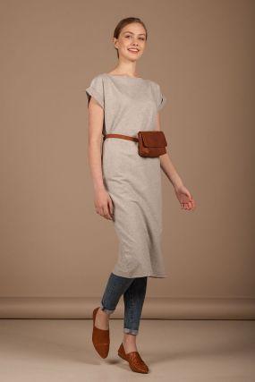 Платье MAYBE футболочный рукав серого цвета (44-46)