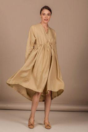 Платье-халат Черешня с эффектом делаве из льна цвета ванили на кулиске (40-46)