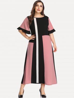 Контрастное платье размера плюс с оригинальным рукавом