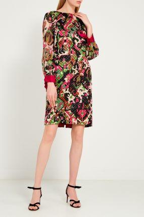 Яркое платье из шерсти и шелка