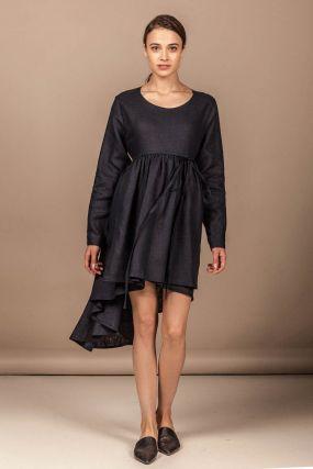 Платье Черешня с асимметричной юбкой из синего льна с завязками (40-46)