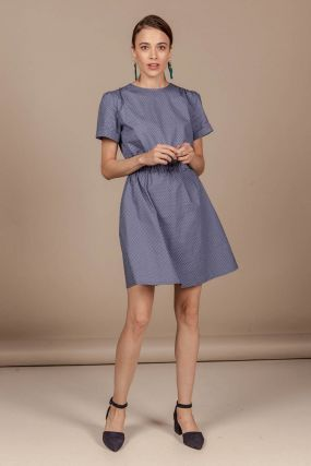 Платье Черешня мини в горошек синего цвета (38-40)