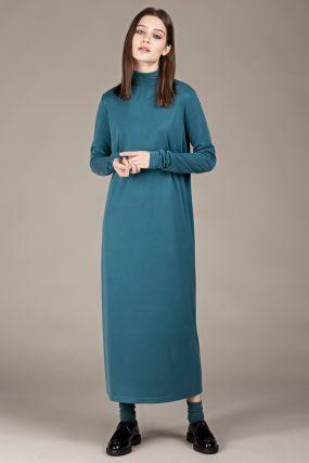 Платье-бадлон Черешня из модала цвета морской волны с разрезом (42-44)