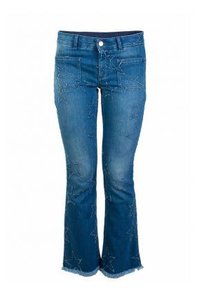 Укороченные джинсы с фактурной отделкой