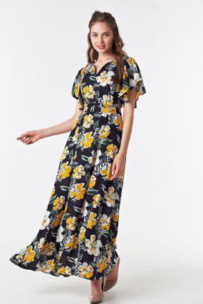 Платье в пол на лето желтые цветы