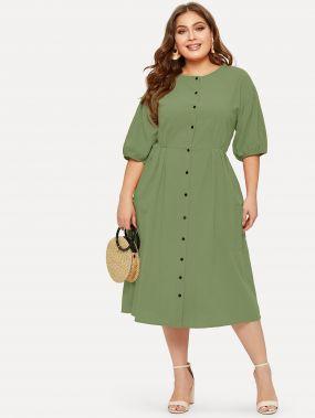 Платье-рубашка размера плюс с пуговицами