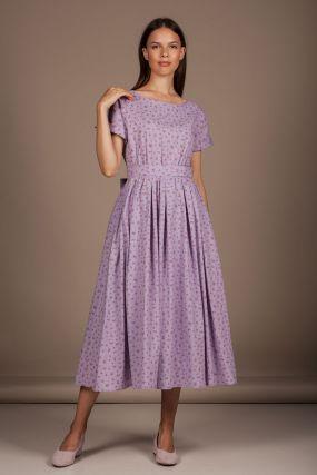Платье Черешня с пышной юбкой и поясом фиолетовое в цветок (38-42)