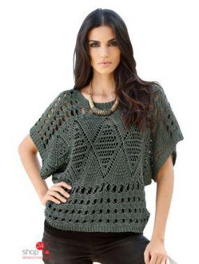 Ажурный пуловер Amy Vermont Klingel, цвет серо-зеленый