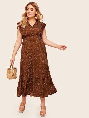 Платье в горошек с завязкой и оборкой размера плюс
