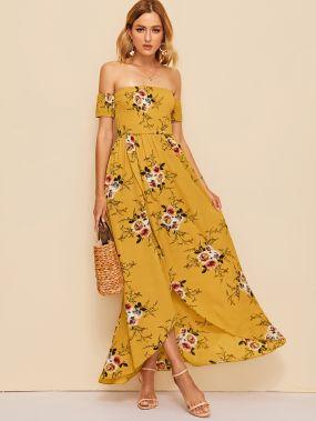 Цветочное платье на запах с открытыми плечами