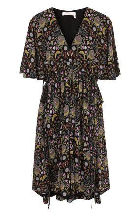 Приталенное мини-платье с V-образным вырезом и принтом Chloé