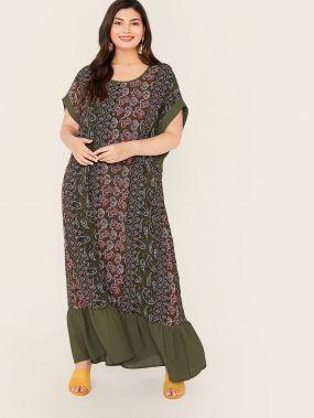Платье с графическим принтом и оригинальным рукавом размера плюс