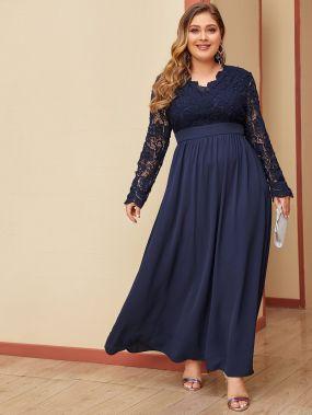 Кружевное платье размера плюс с открытой спинкой