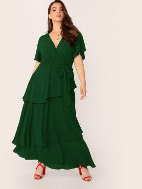 Длинное платье размера плюс с многослойными оборками и поясом