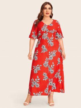Однобортное платье с цветочным принтом размера плюс