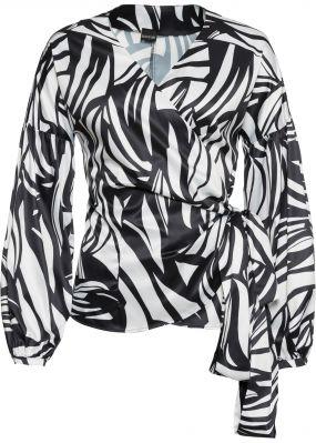 Блузка с V-вырезом и длинными рукавами