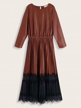 Контрастное кружевное платье из искусственной кожи с плиссированным краем