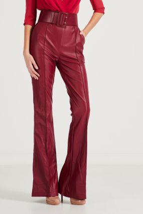 Бордовые брюки из эко-кожи