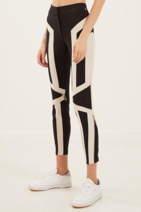 Черные брюки с контрастными вставками