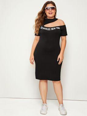 Асимметричное платье-карандаш размера плюс с текстовым принтом