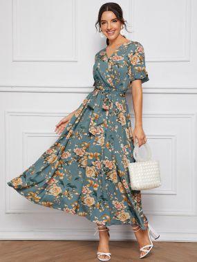 Расклешенное платье с поясом и цветочным принтом