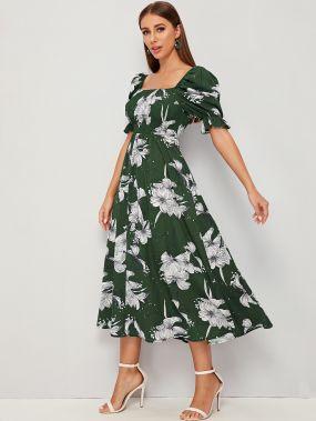 Платье с пышными рукавами и ботаническим принтом