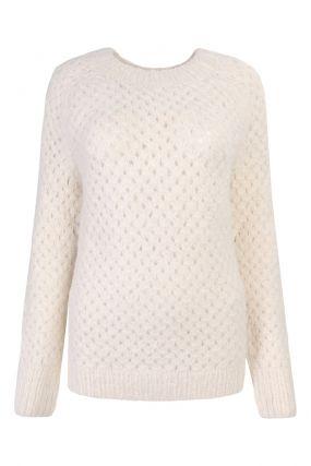 Белый джемпер ажурной вязки