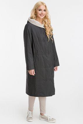 Весеннее двустороннее длинное пальто с капюшоном