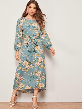 Платье с цветочным принтом и завязкой
