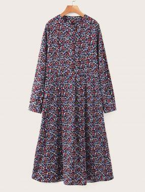 Платье на пуговицах с цветочным принтом