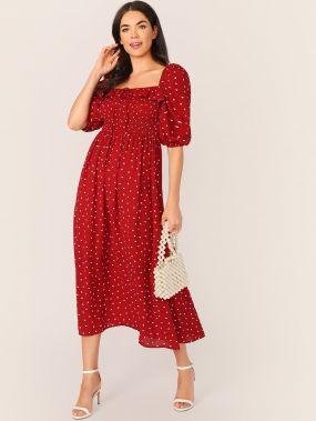 Платье с пышными рукавами и принтом