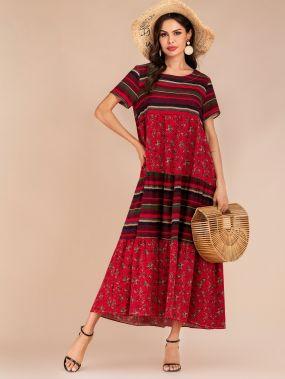 Разноцветное полосатое платье с цветочным принтом