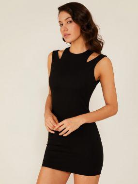 Double Crazy однотонное облегающее платье-мини с разрезом