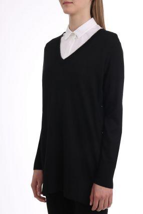 Черный удлиненный пуловер