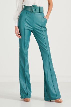 Бирюзовые брюки с ремнем