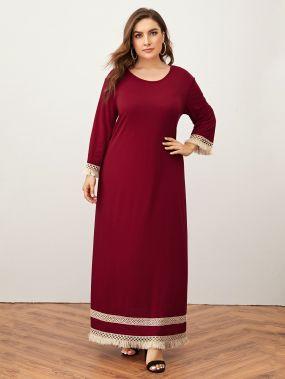 Платье с бахромой и контрастной отделкой размера плюс