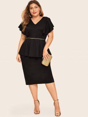 Стильное Облегающее Миди Платье С Баской Размер Плюс