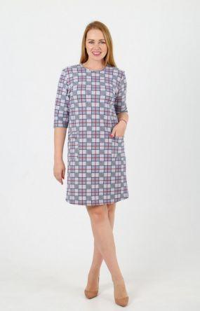 Платье трикотажное Альба (клетка)