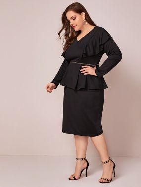 Платье размера плюс с блестками и оборками