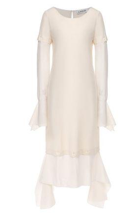 Платье из смеси шелка и хлопка Lanvin