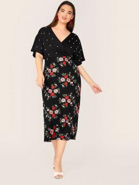 Платье размера плюс с цветочным принтом и жемчугом