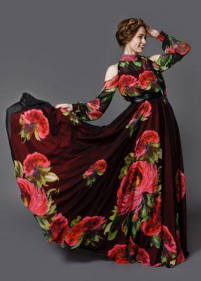 Длинное шифоновое платье с юбкой-солнцем GS002B