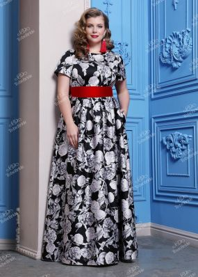 Длинное вечернее платье с короткими рукавами ND108B