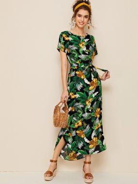 Платье с поясом и тропическим цветочным принтом