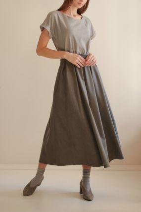 Платье ЧЕРЕШНЯ с пышной юбкой и поясом комбинированное олива (WASHED OUT) (42-46)