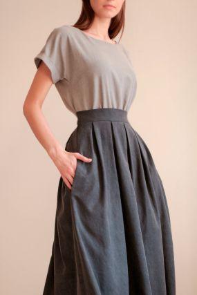 Платье ЧЕРЕШНЯ с пышной юбкой и поясом комбинированное графит (WASHED OUT) (42-46)
