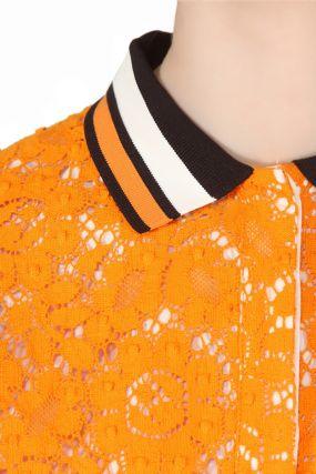 Платье-поло с ажурной отделкой