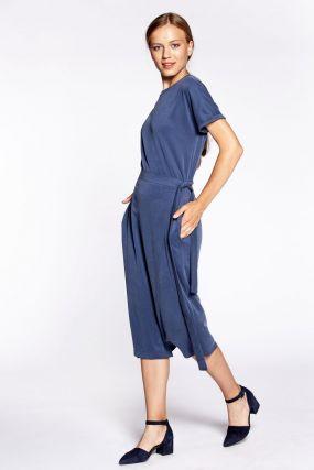 Платье Черешня из модала с запахом на талии светло-синего цвета (40-44)