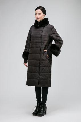 Женское демисезонное пальто на верблюжьей шерсти с мехом