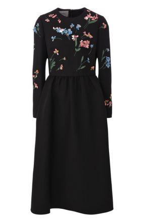 Приталенное платье-миди из смеси шерсти и шелка с декоративной отделкой Valentino